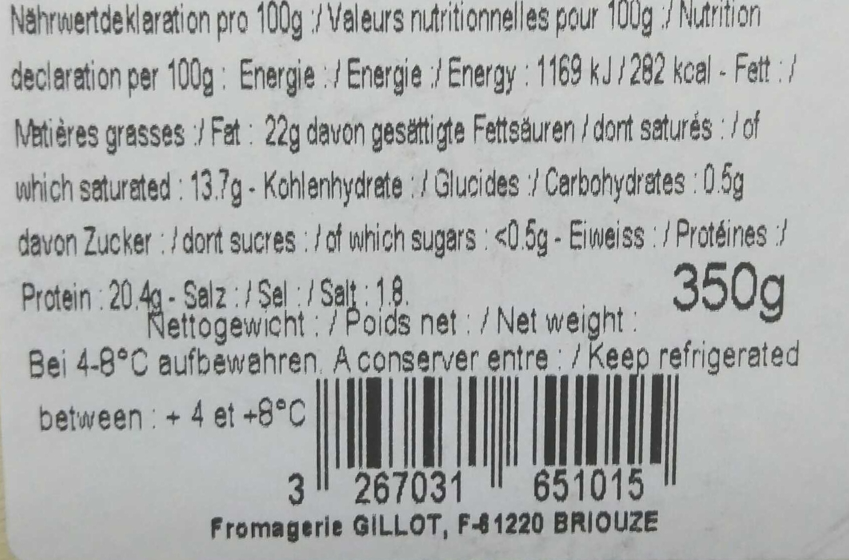 Coulommiers - Informations nutritionnelles - fr