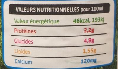 Lait frais de Normandie demi-écrémé - Informations nutritionnelles - fr