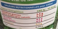 Lait frais demi écrémé  microfiltre 1l - Informations nutritionnelles - fr