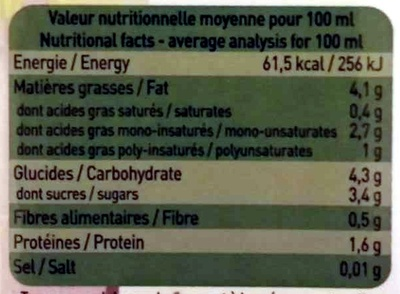 Amandina, Lait d'Amande Bio - Nutrition facts