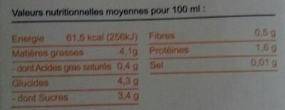 Amandina, Lait d'Amande Bio - Nutrition facts - fr