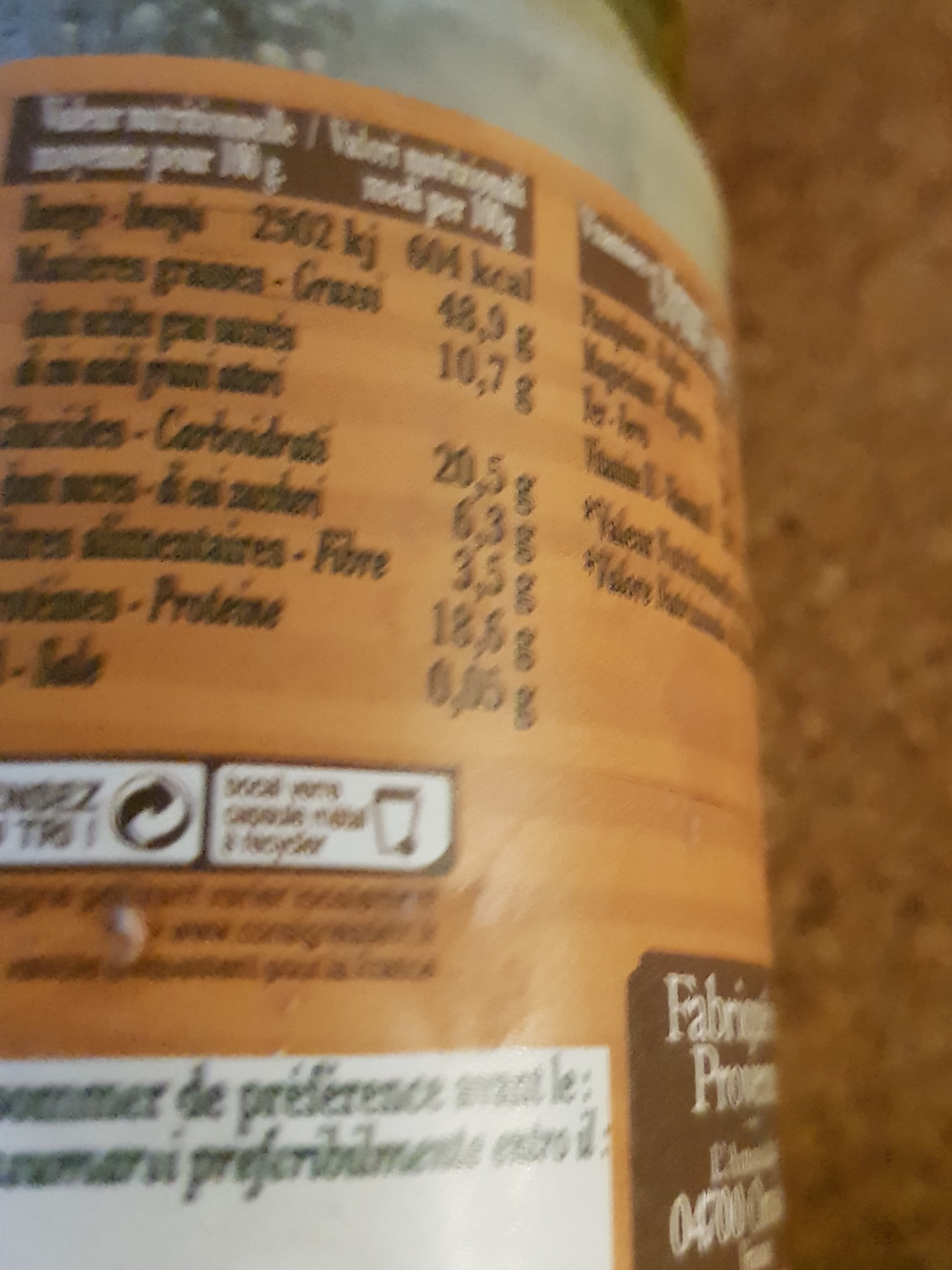 Puree noix cajou - Nutrition facts - fr