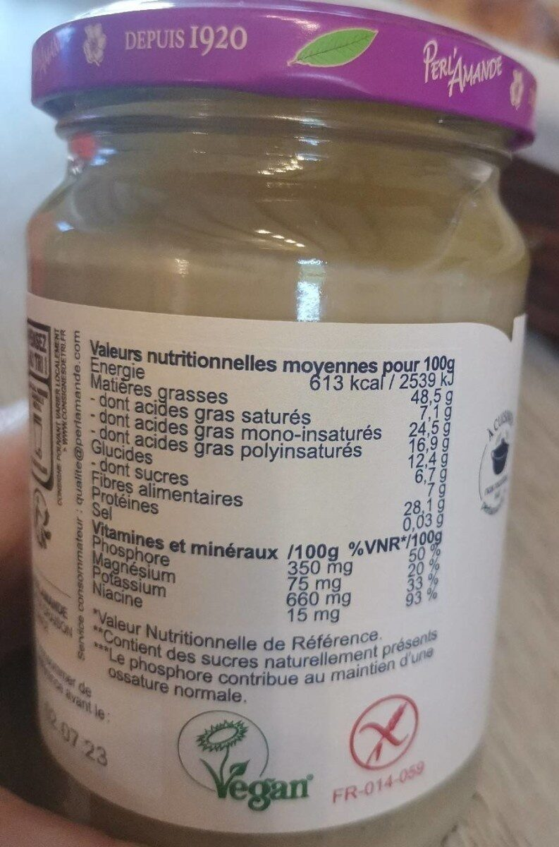 Purée crue cacahuète - Informations nutritionnelles - fr