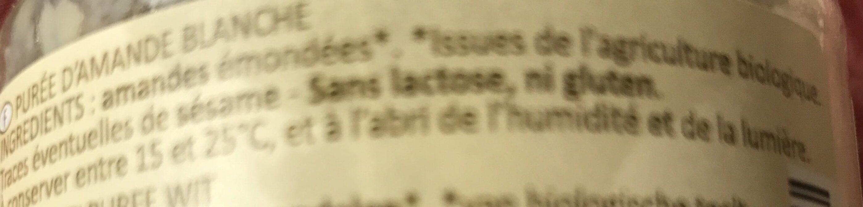Purée D'amande Blanche Crue - Ingredients - fr