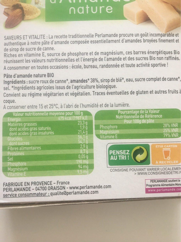 Epicerie / Epicerie Sucrée / Pâtes D'amandes Bio - Informations nutritionnelles