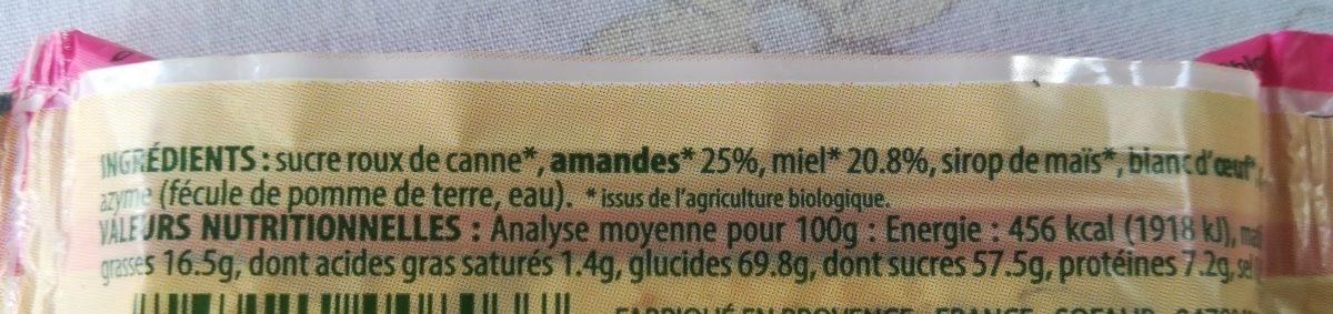 Barre Nougat Blanc 20G - Ingredienti - fr