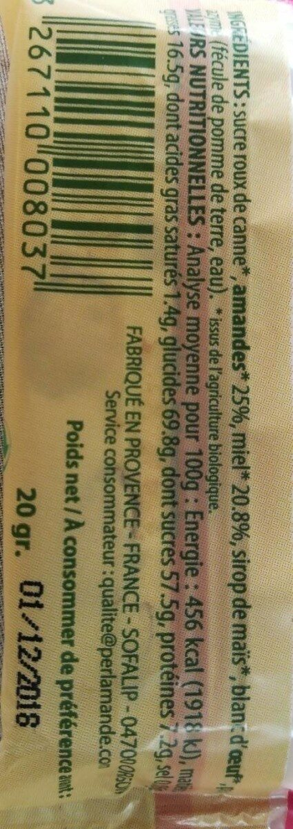 Barre Nougat Blanc 20G - Valori nutrizionali - fr