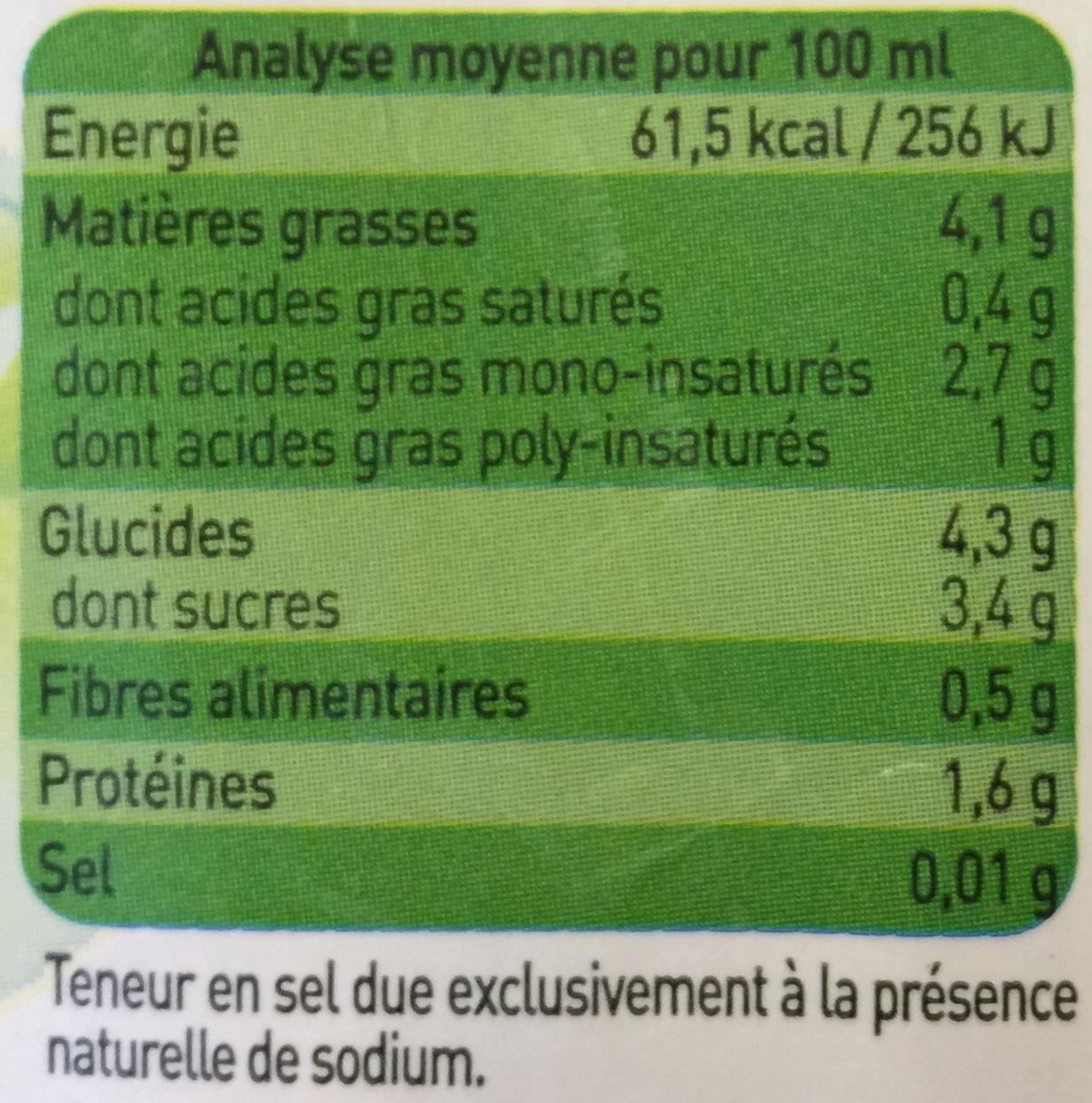 Amandina, Lait d'Amande Bio - Nutrition facts