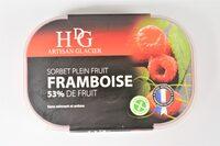 Sorbet plein fruit FRAMBOISE, 53% de fruit - Product