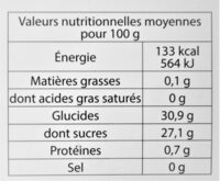 Sorbet plein fruit FRAMBOISE, 53% de fruit - Voedingswaarden