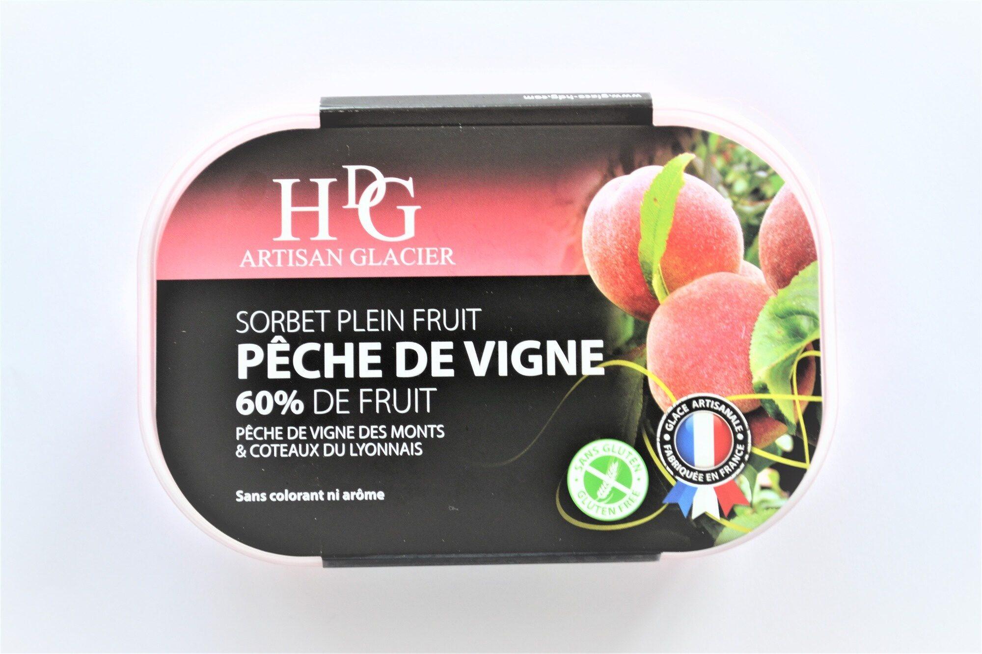 Sorbet plein fruit PÊCHE DE VIGNE des Monts & Coteaux du Lyonnais, 60% de fruit - Produit - fr