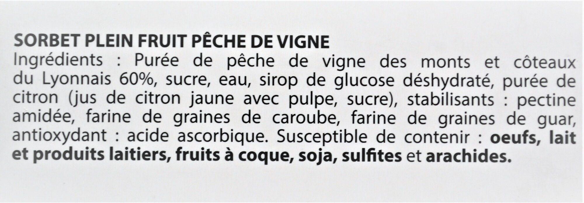 Sorbet plein fruit PÊCHE DE VIGNE des Monts & Coteaux du Lyonnais, 60% de fruit - Ingredients