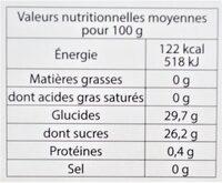 Sorbet plein fruit PÊCHE DE VIGNE des Monts & Coteaux du Lyonnais, 60% de fruit - Informations nutritionnelles - fr