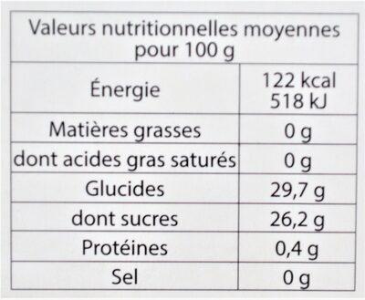 Sorbet plein fruit PÊCHE DE VIGNE des Monts & Coteaux du Lyonnais, 60% de fruit - Informations nutritionnelles