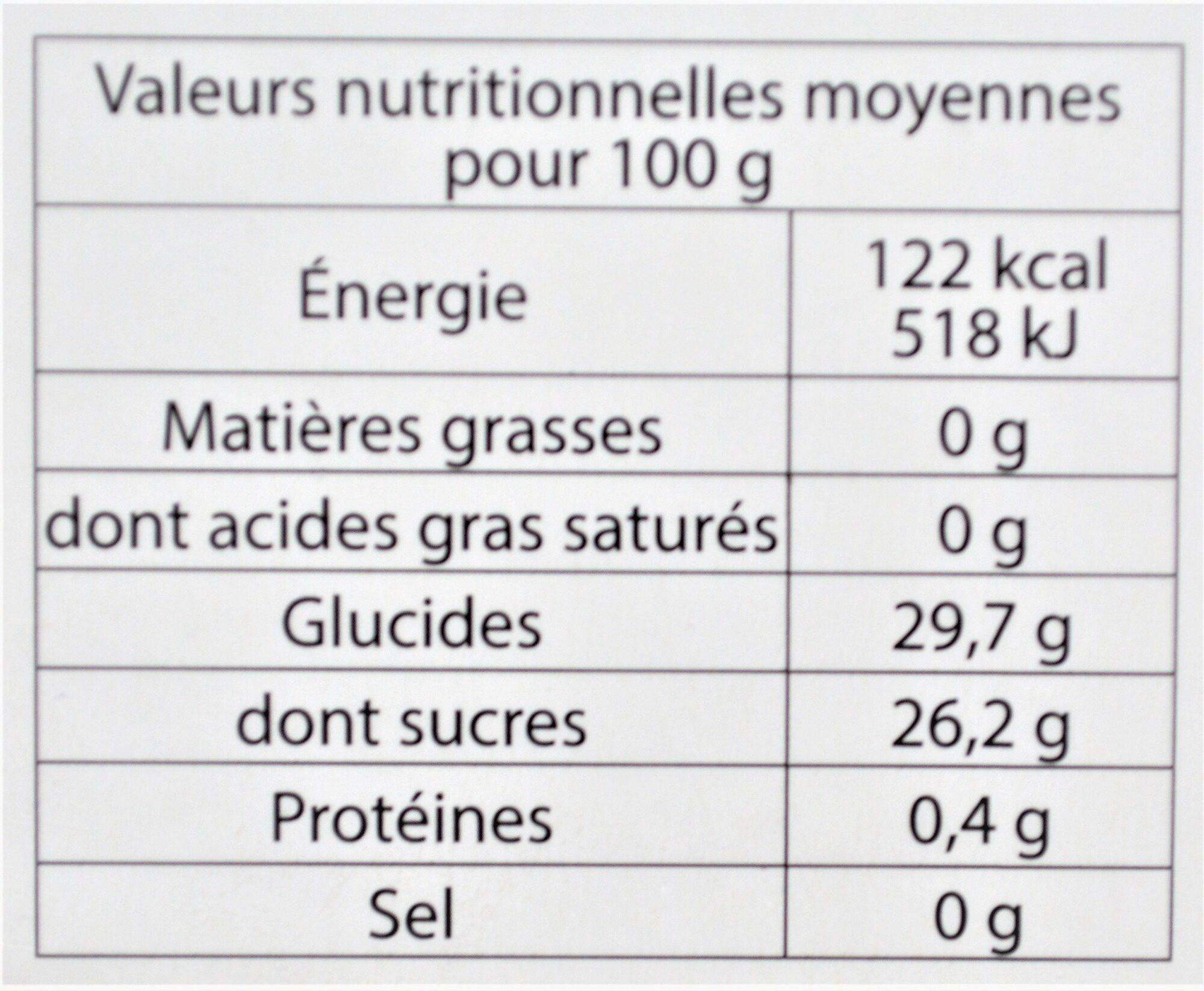 Sorbet plein fruit PÊCHE DE VIGNE des Monts & Coteaux du Lyonnais, 60% de fruit - Nutrition facts
