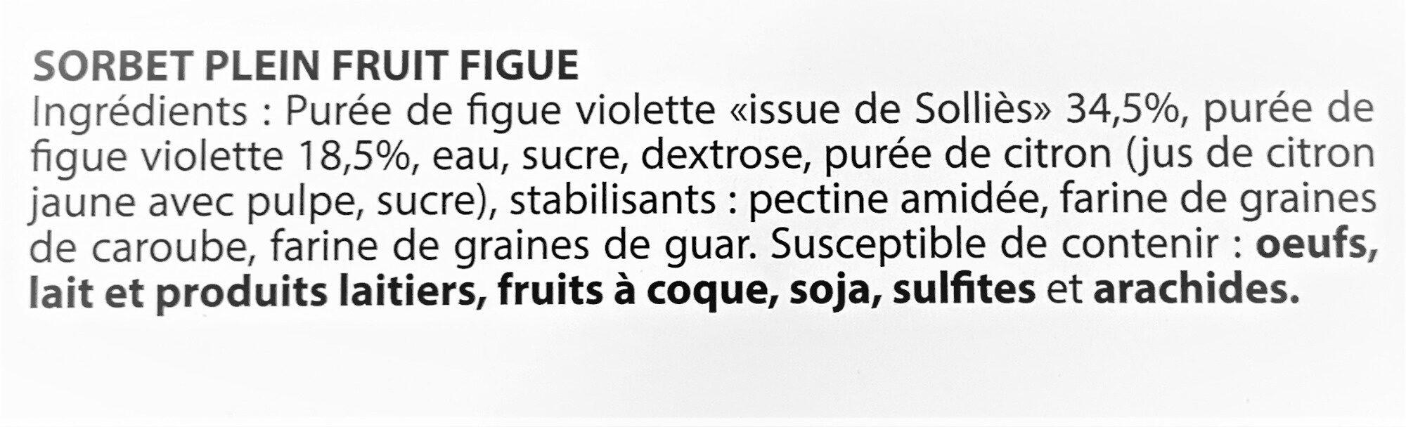 Sorbet plein fruit FIGUE, 53% de fruit - Ingredients