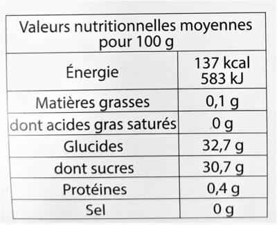 Sorbet plein fruit FIGUE, 53% de fruit - Nutrition facts