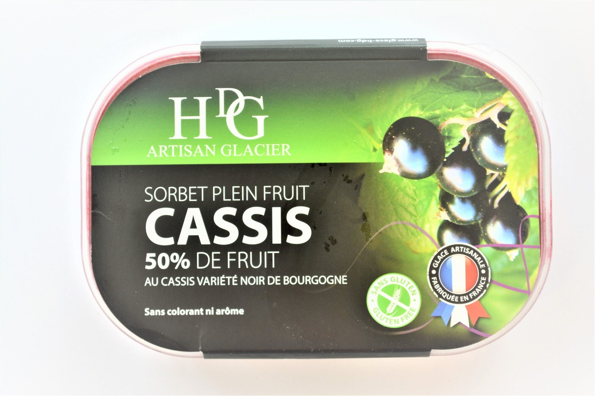 Sorbet plein fruit CASSIS variété noir de Bourgogne, 50% de fruit - Product