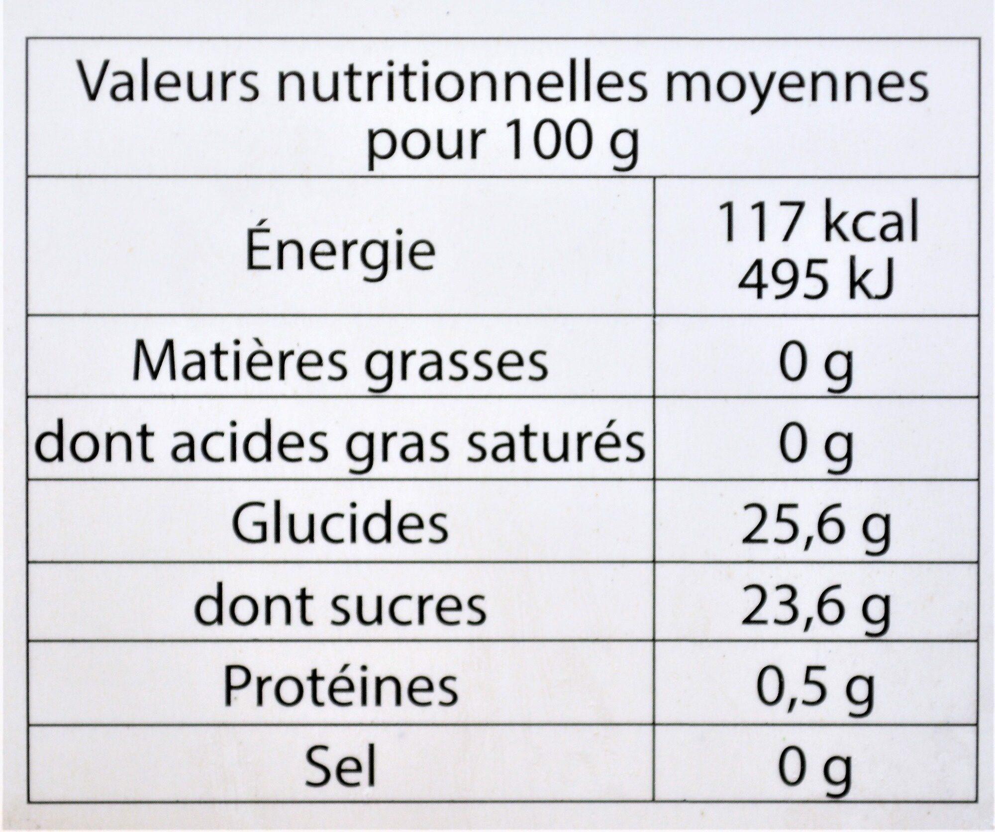 Sorbet plein fruit CASSIS variété noir de Bourgogne, 50% de fruit - Nutrition facts