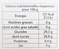 Sorbet plein fruit MELON, 48% de fruit - Voedingswaarden
