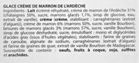Glace CREME DE MARRON de l'Ardèche, morceaux de marrons glacés - Ingrédients - fr