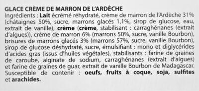 Glace CREME DE MARRON de l'Ardèche, morceaux de marrons glacés - Ingredients