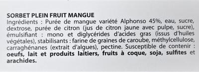 Sorbet plein fruit MANGUE, 45 % de fruit - Ingredientes - fr
