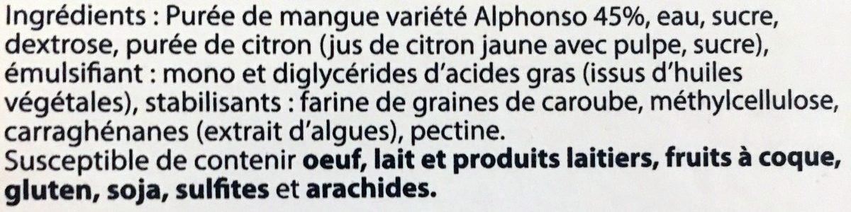 Sorbet Mangue HISTOIRES DE GLACES - Ingredientes