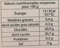 Sorbet Mangue HISTOIRES DE GLACES - Información nutricional