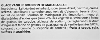 Glace VANILLE BOURBON DE MADAGASCAR - Ingredients