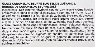Glace CARAMEL, au beurre & au sel de Guérande, rubans de caramel au beurre salé - Ingredients