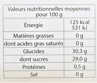 Sorbet plein fruit ABRICOT, 60% de fruit - Nutrition facts