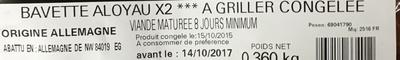 Viande bovine à griller Bavette Aloyau X2 - Ingredients - fr