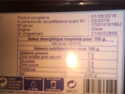 Filets de saumon rose du pacifique - Informations nutritionnelles - fr