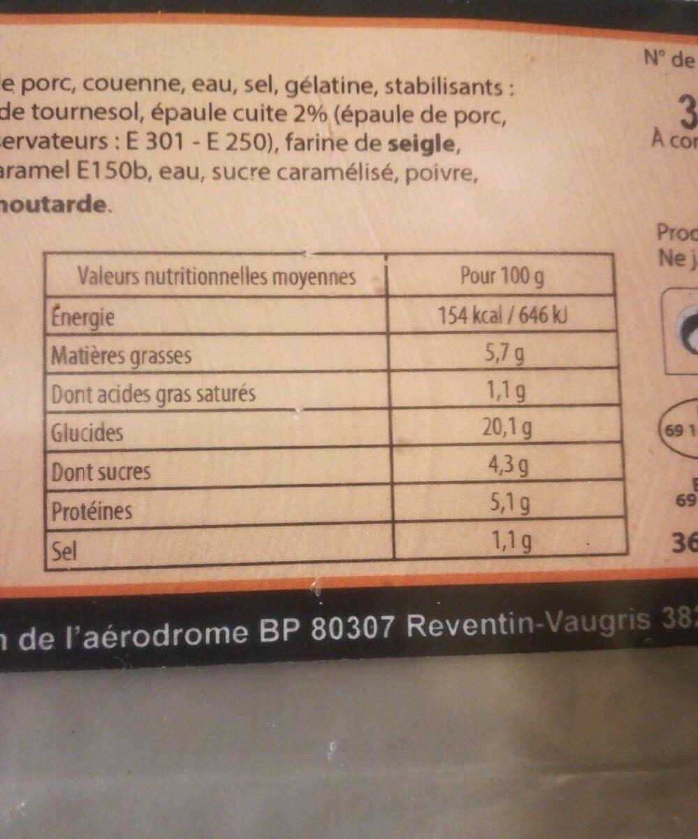 Crêpes jambon emmental - Informations nutritionnelles - fr