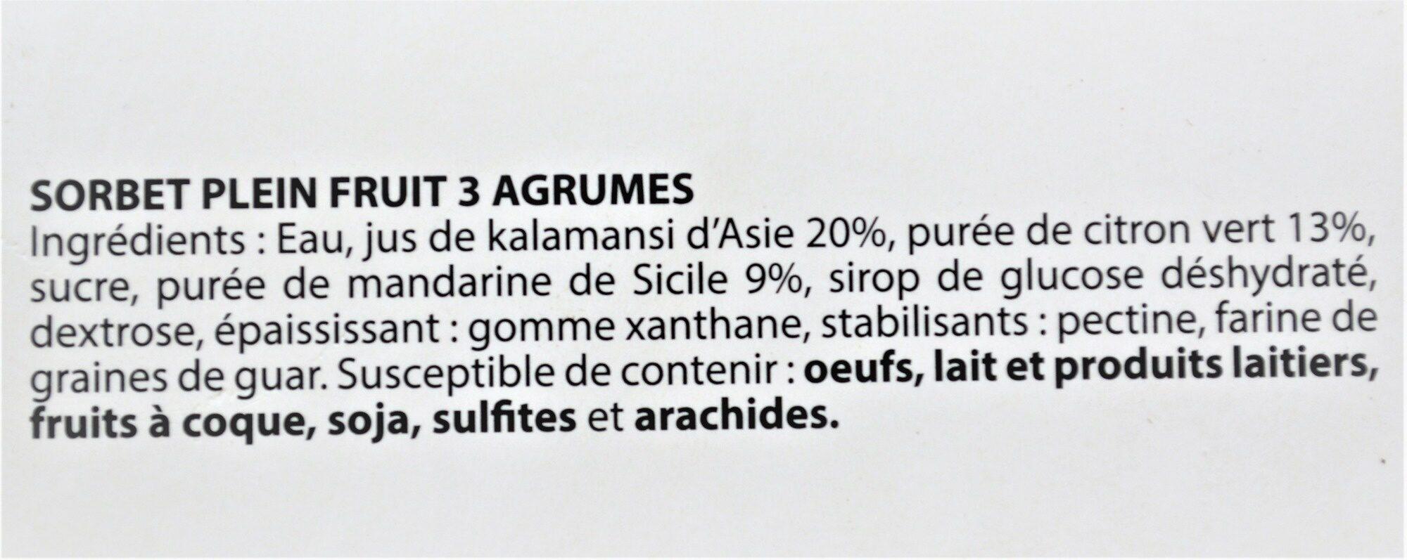 Sorbet plein fruit 3 AGRUMES, 42% de fruit - Ingredients