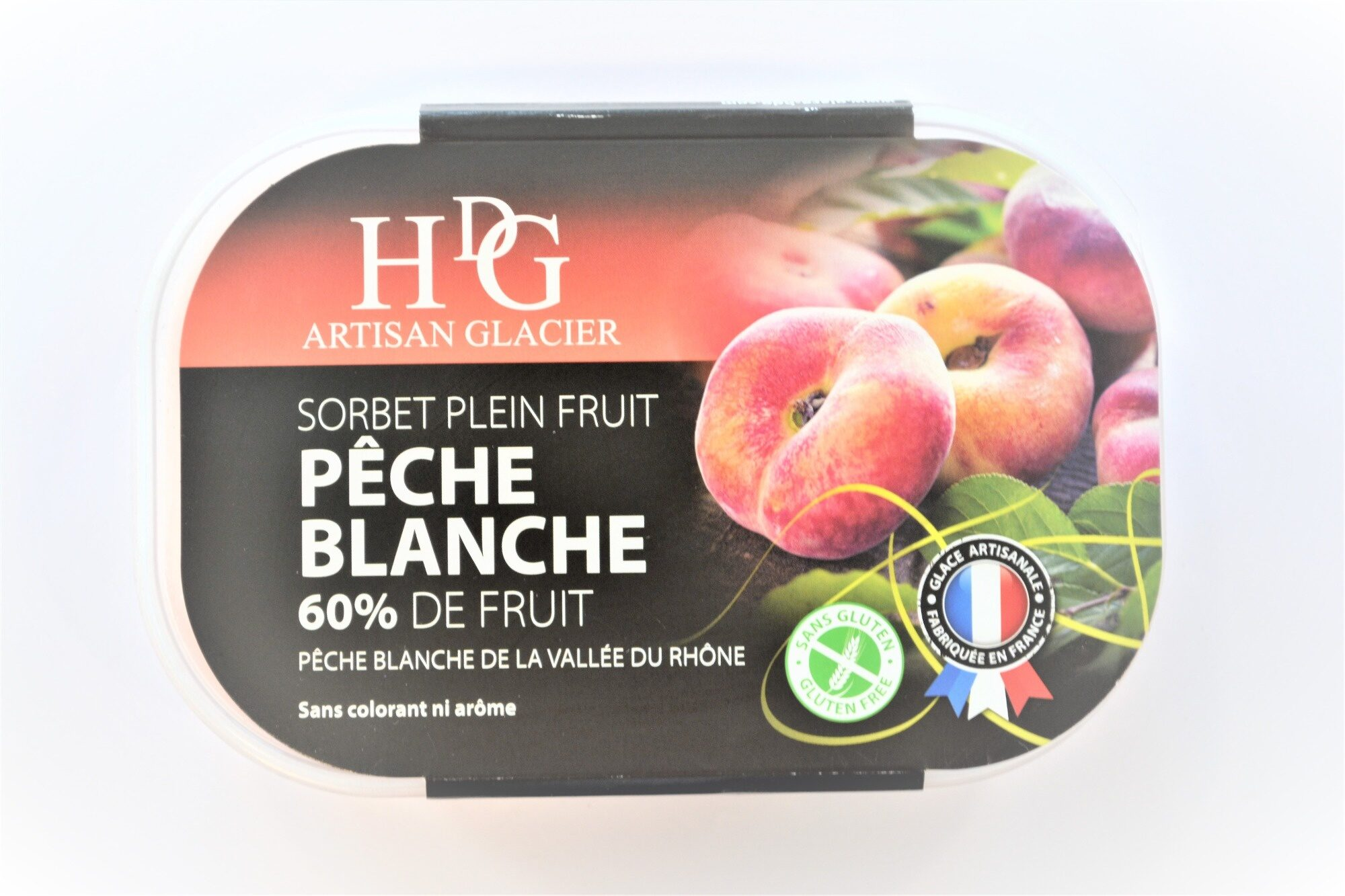 Sorbet plein fruit PÊCHE BLANCHE, 60% de fruit - Product