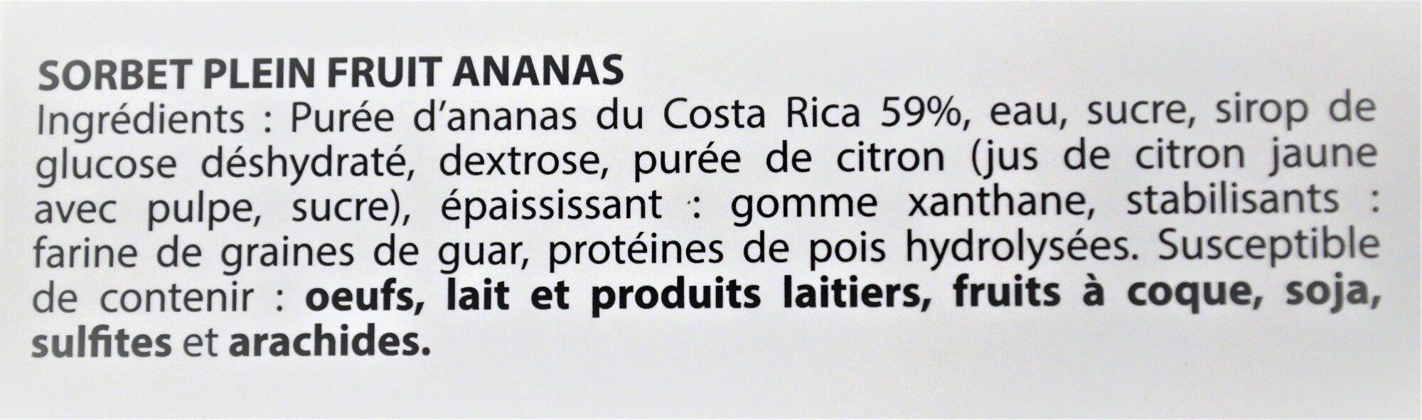 Sorbet plein fruit ANANAS, 59% de fruit - Ingrediënten