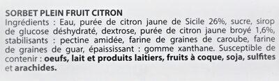 Sorbet plein fruit CITRON, 27% de fruit - Ingredients