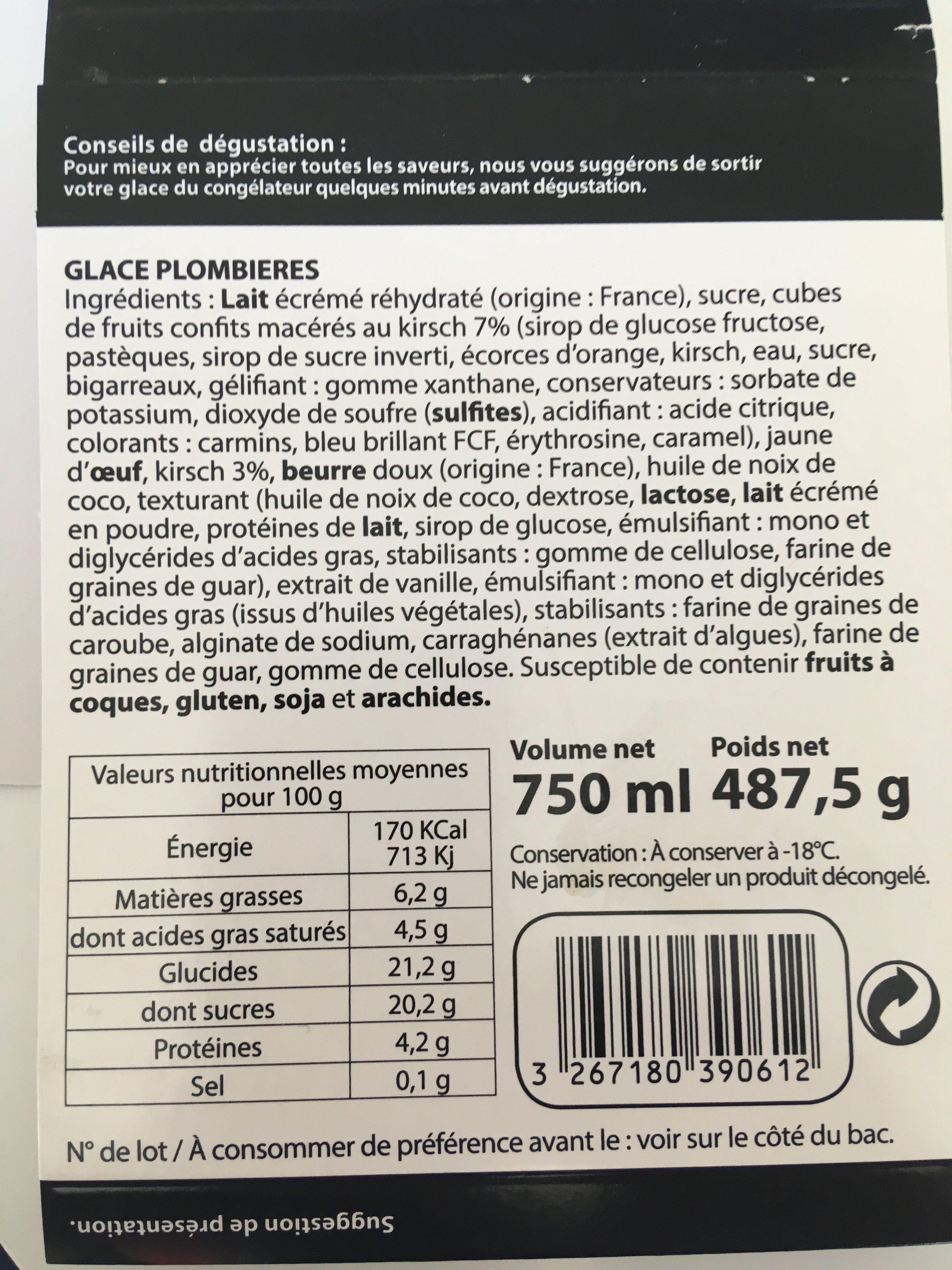 Histoires de glaces Glace Plombières au kirsch, morceaux fruits confits - Ingredients