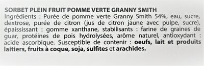 Sorbet plein fruit POMME VERTE GRANNY SMITH, 54% de fruit - Ingredients