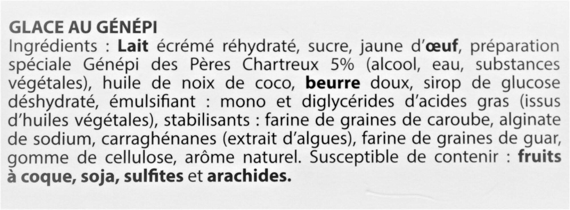 Glace GENEPI, des Pères Chartreux - Ingrédients
