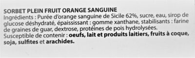 Sorbet plein fruit ORANGE SANGUINE, 62% de fruit - Ingrédients