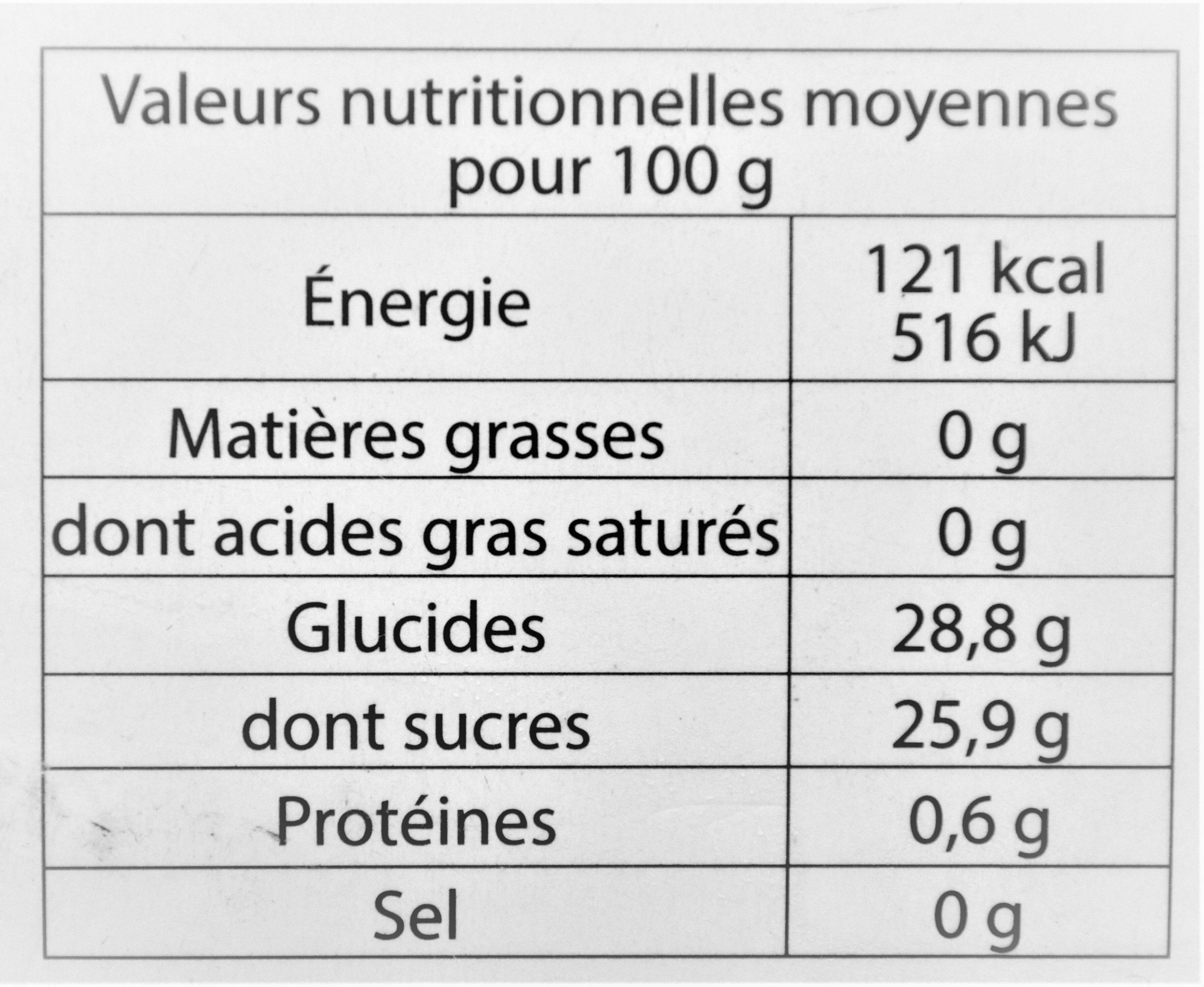 Sorbet plein fruit ORANGE SANGUINE, 62% de fruit - Informations nutritionnelles