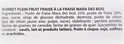 Sorbet plein fruit FRAISE à la fraise Mara des Bois, 60% de fruit - Ingredients