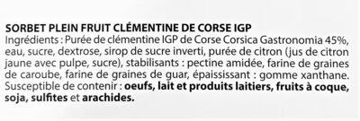 Sorbet plein fruit CLEMENTINE CORSE IGP, 45% de fruit - Ingrediënten