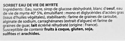 Sorbet Eau de vie de Myrte - Ingrédients