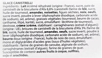 Glace canistrelli - Ingrediënten