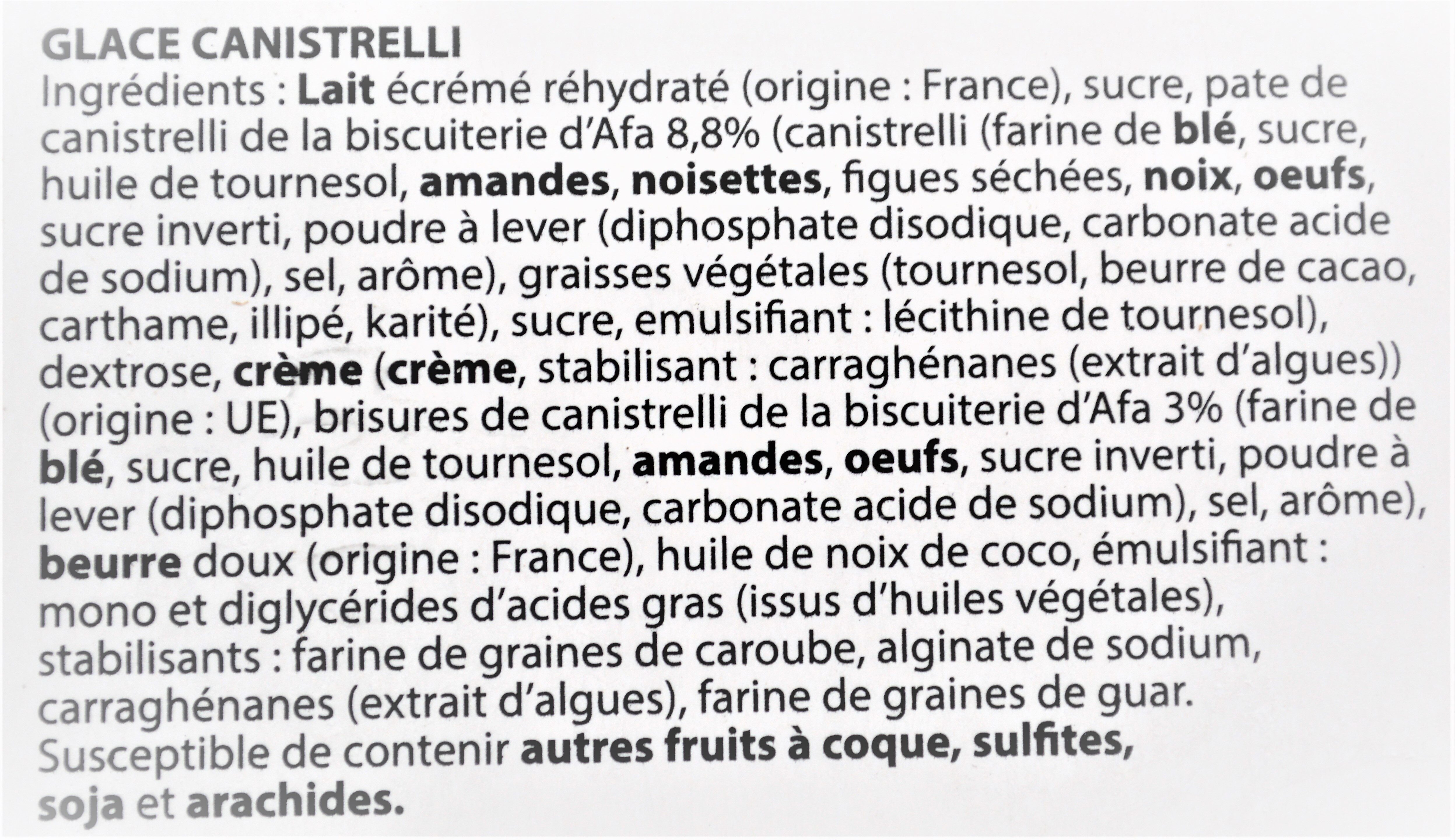 Glace canistrelli - Ingredients