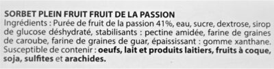 Sorbet plein fruit FRUIT DE LA PASSION, 41% de fruit - Ingredients